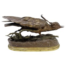 19th c French Bronze of a Game Bird signed J. Moigniez
