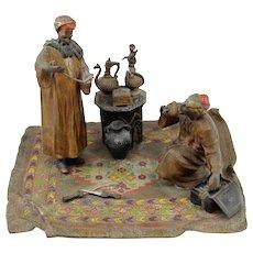 Anton Chotka Vienna Cold Painted Bronze of Arab Merchants