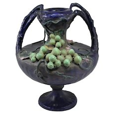 Two Handled Porcelain Amphora Austrian Vase with Grape and Vine Decoration