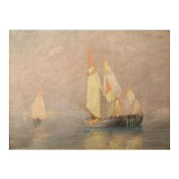 George Wainwright Harvey Pastel Painting Venetian Harbor Scene with Boats