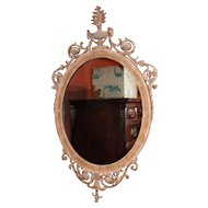 19th c Adam Style Carved Oval Mirror