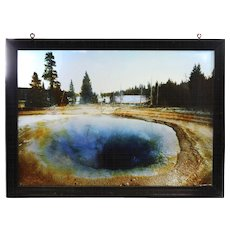19th c Framed Glass Color Photo Plate of Mineral Hot Springs at Yellowstone