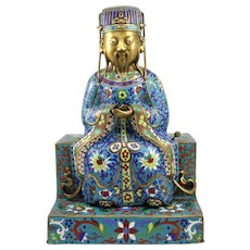 Early 20th c Chinese Cloisonne Metal Figure of a Divinity