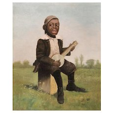 American School  19th c Unsigned Oil Painting - The Banjo Player