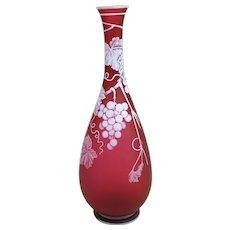 19th c Thomas Webb & Sons English Ruby Red Cameo Vase