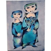 Joseph Trippetti Enamel Abstract Plaque of Two Women with Flowers