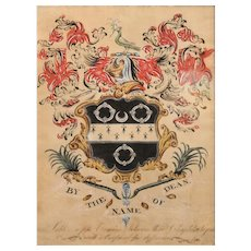 18th c Dean Family of Boston Armorial or Family Coat of Arms by George Searle