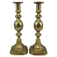 19th / 20th c Pair of Brass King of Diamonds Candlesticks
