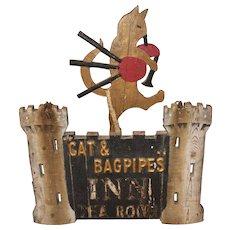 19th c Cat & Bagpipes Inn & Tea Room Folk Art Sign