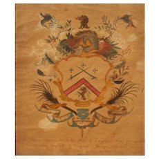 Early Handpainted Cogswell Family Coat of Arms