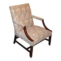 Georgian Chippendale Mahogany Library Arm Chair