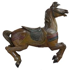 Early 20th Century Muller Carved Polychrome Carousel Horse from San Francisco