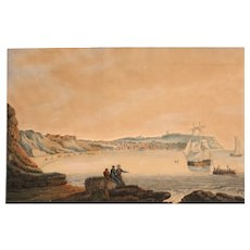 19th Century English Marine Hand Colored Print in Relief of Scarborough Beach