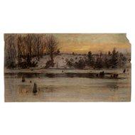 Marc-Aurele Suzor-Cote Pastel Painting of a Winter Landscape
