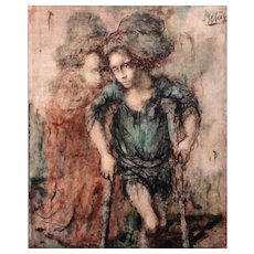 Conger Metcalf Impressionist Oil Painting of Two Mendicant Children
