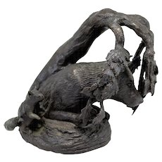 Barbara Faucher Signed Bronze of a Wolf