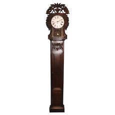 19th c French Provincial Foliate Carved Tall Clock with Quartz Movement