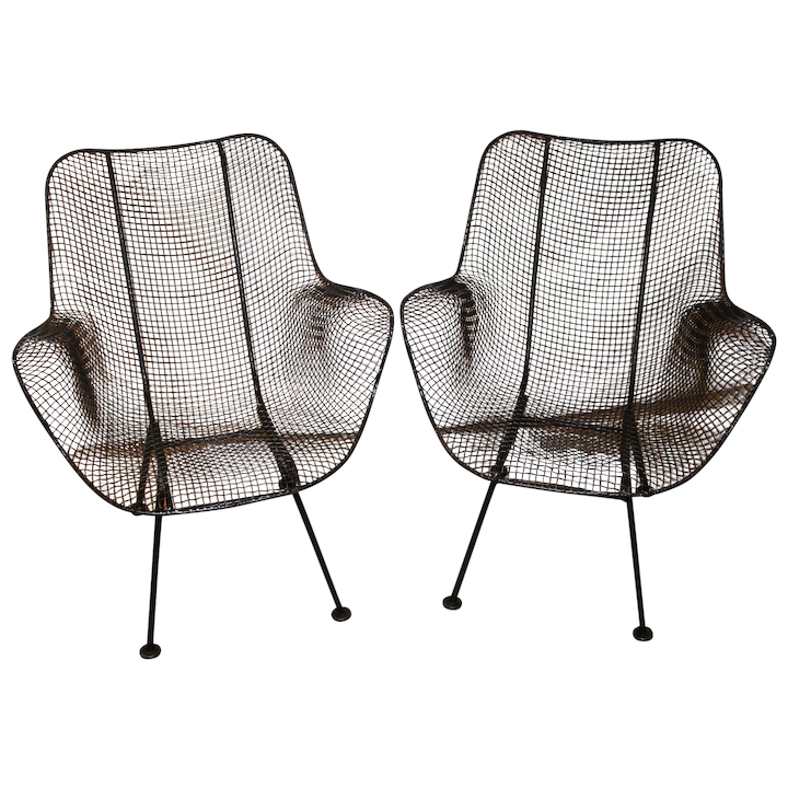 Excellent Pair Of Russell Woodard Sculptura Wire Mesh Arm Chairs Circa 1950S Evergreenethics Interior Chair Design Evergreenethicsorg