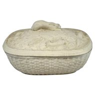 Early 19th c Caneware Basket Weave Covered Tureen with Hunting Game Decoration