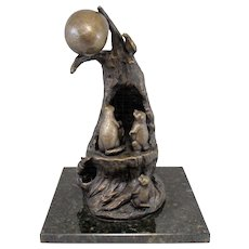 Barbara Faucher Signed Bronze Sculpture of Mystical Creatures - Wee People NH