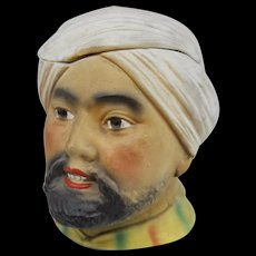 Arab Man with Turban Polychrome Figural Porcelain Bisque Humidor