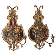 Pair of Gilt Bronze Mirrored Sconces, Probably Italian