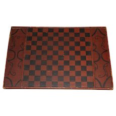 19th c Antique Hand Painted Folk Art Game Board or Checker Board