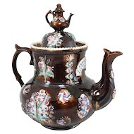 English Measham Pottery Bargeware Teapot with Cover Inscribed and Dated 1884