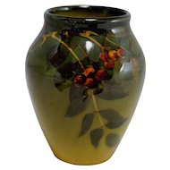 Standard Glaze Rookwood #915F Vase with Leaf & Berry Decoration Artist Signed and Dated 1903