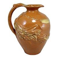 Rare Matt Morgan Art Pottery Glazed & Gilt Ewer or Pitcher circa 1883-1884