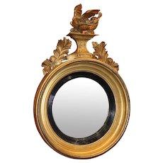 Early 19th c Diminutive Girandole Giltwood Mirror with Dragon Motif