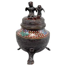 19th c Japanese Bronze Champleve Tripod Covered Urn or Censer