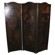 19th c Continental Foliate Painted Leather Three Panel Dressing Screen