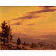 William R. Davis Landscape Oil Painting - Twilight White Mountains NH