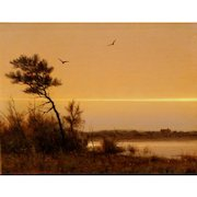 William R. Davis Landscape Oil Painting - Twilight on the Marsh