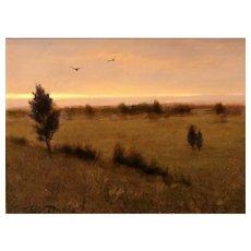 William R. Davis Landscape Oil Painting - Cedars & Crows