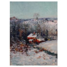 Arthur Clifton Goodwin Landscape Oil Painting - Snowscape in the Blue Hills, MA