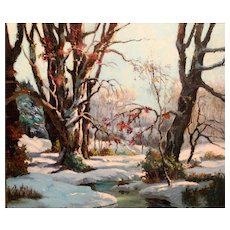 Chester Van Nortwick Oil Painting Winter Landscape