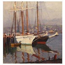 Emile Albert Gruppe Marine Oil Painting - Harbor Scene