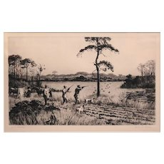 Aiden Lasell Ripley Pencil Signed Etching - Quail Shooting