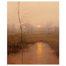 Dennis Sheehan Tonalist Landscape Oil Painting - Sunrise
