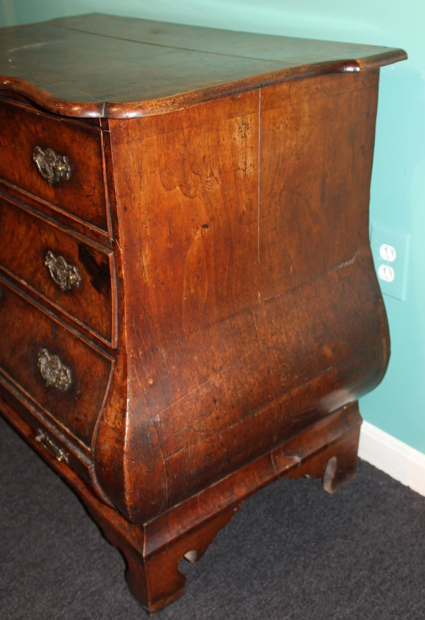 Bombe 94 en ce qui concerne diminutive 19th c dutch bombe oak & walnut chest or commode : new
