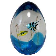 Murano Signed Art Glass Aquarium Sculpture with Fish by Elio Raffaeli