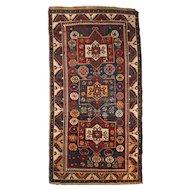 Antique Kazak Scatter Rug or Carpet, circa 1900