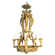 19th c Cast Brass Chandelier with Winged Mermaid & Dolphin Figures