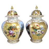 Pair of 19th c German Dresden Porcelain Covered Urns, signed Augustus Rex