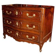 18th c Fruitwood French Three Drawer Commode