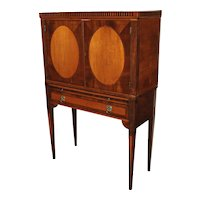 Rare Two Part English Neoclassical Library Cabinet with Brushing Slide