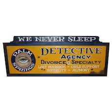 Palm Springs Detective Agency Painted Tin Advertising Sign with Wood Surround
