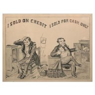Early 20th c Cash / Credit Comical Businessmen Graphite Drawing